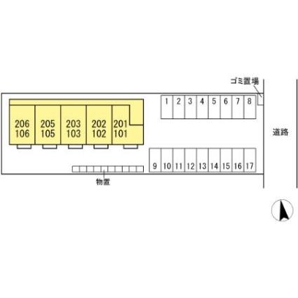 モナリエ城下[1LDK/40m2]の配置図