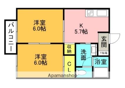 フレグランスK C棟[2DK/35m2]の間取図