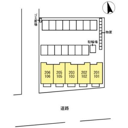 メゾンソレイユ・カトル[1LDK/39.02m2]の配置図