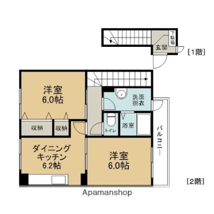 BETTER Я MIYOSHI[2DK/45.35m2]の間取図