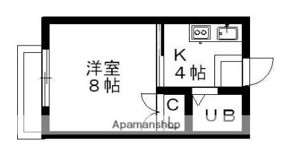 メゾンα[1K/23.14m2]の間取図