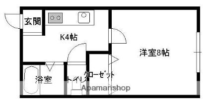 青森県弘前市大字在府町[1K/24.79m2]の間取図