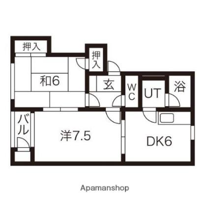 岩手県盛岡市上堂3丁目[2DK/45.69m2]の間取図