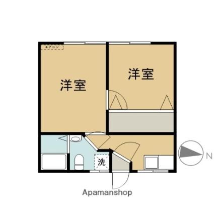 岩手県盛岡市城西町[2DK/29.81m2]の間取図