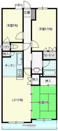 岩手県盛岡市中ノ橋通2丁目[3LDK/70.02m2]の間取図