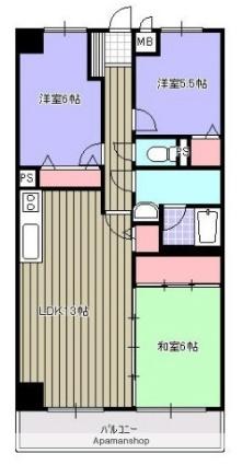 岩手県盛岡市西下台町[3LDK/64.18m2]の間取図