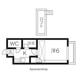 岩手県盛岡市稲荷町[1K/17.15m2]の間取図