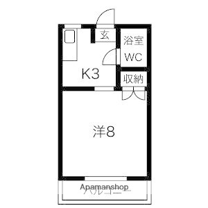 岩手県盛岡市若園町[1K/23.18m2]の間取図