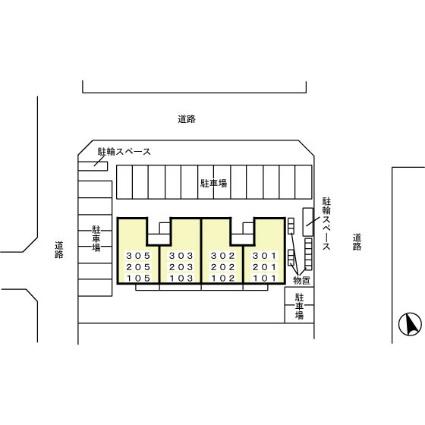 岩手県盛岡市向中野2丁目[2LDK/55.95m2]の配置図