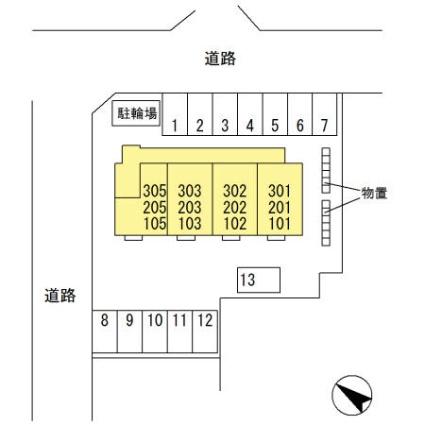 岩手県盛岡市茶畑1丁目[1R/30.36m2]の配置図