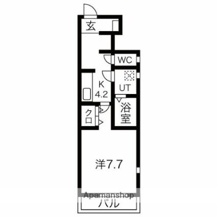 岩手県盛岡市神明町[1K/28.92m2]の間取図