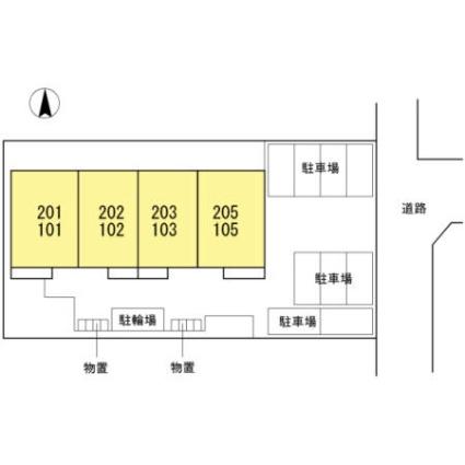 岩手県盛岡市北飯岡3丁目[2LDK/63.61m2]の配置図