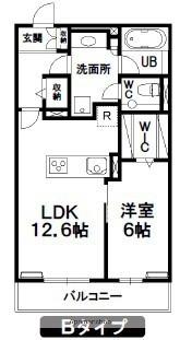 岩手県盛岡市本宮6丁目[1LDK/50.28m2]の間取図