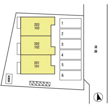 岩手県盛岡市厨川3丁目[1LDK/41.55m2]の配置図