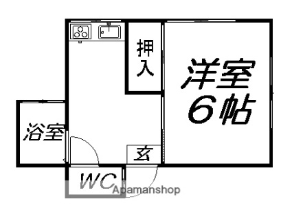 岩手県滝沢市穴口[1K/23.3m2]の間取図