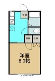 岩手県滝沢市巣子[1K/26.49m2]の間取図