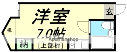 宮城県仙台市若林区新寺1丁目[1R/17.64m2]の間取図