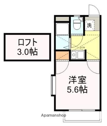 アップルハウス八木山弥生町[1K/16m2]の間取図