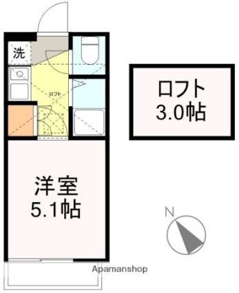 アップルハウス青山1[1K/15.57m2]の間取図