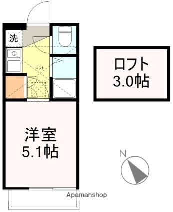 アップルハウス青山1[1K/15.75m2]の間取図