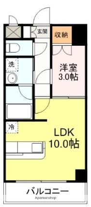 サークル10ビル[1LDK/32.54m2]の間取図