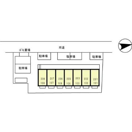 宮城県仙台市青葉区小田原6丁目[1K/26.7m2]の配置図