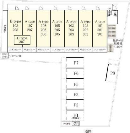 リブリ・エスポワール表柴田[1K/26.08m2]の配置図