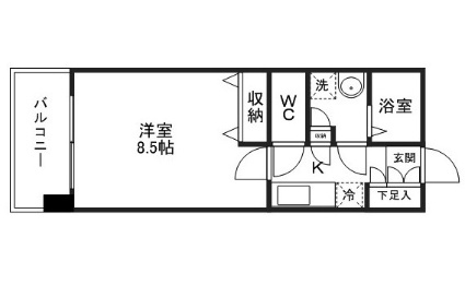宮城県仙台市青葉区川内大工町[1K/26.65m2]の間取図