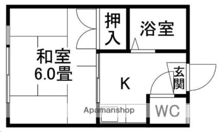 Kimachi1437MHビル[1K/19.4m2]の間取図
