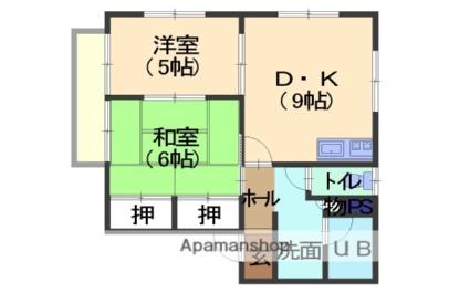 フォレスタB棟[2DK/48.03m2]の間取図