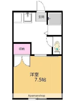 サカモトビレッジⅢ[1K/23m2]の間取図