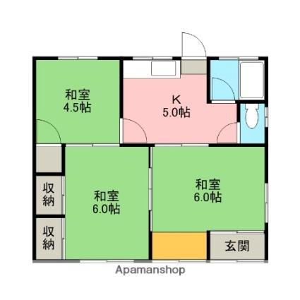槻木西村上せつこ邸[3K/50m2]の間取図