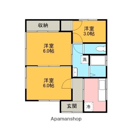 櫻井貸家[3K/45.55m2]の間取図