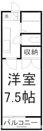 ヒルズ21[1K/22.35m2]の間取図