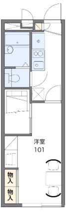 レオパレスフローラル[1K/22.35m2]の間取図