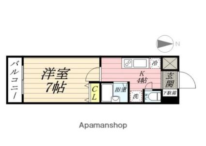 サンヴァーリオ新田駅前Ⅴ[1K/25.96m2]の間取図