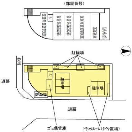 宮城県仙台市宮城野区鉄砲町中[1K/24.87m2]の配置図