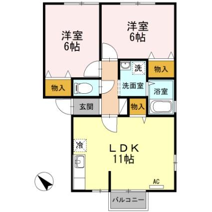 ボヌール桜[2LDK/52.57m2]の間取図