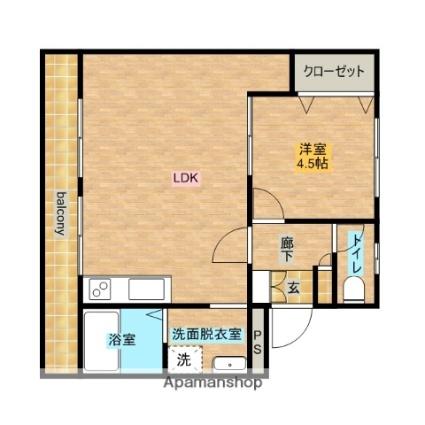 拓栄アパートA[1LDK/38.67m2]の間取図