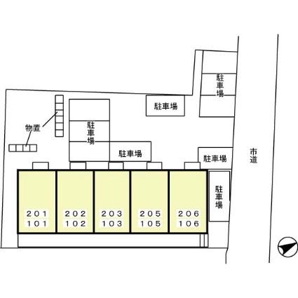 秋田県秋田市南通築地[2K/29.67m2]の配置図