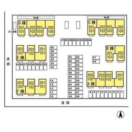 リビングタウン東通 B[2DK/55.44m2]の配置図