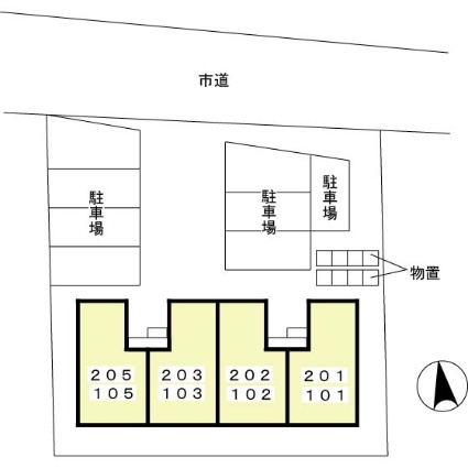 秋田県秋田市将軍野桂町[1DK/28.92m2]の配置図