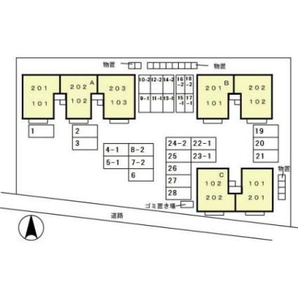 秋田県秋田市将軍野向山[2LDK/53.76m2]の配置図