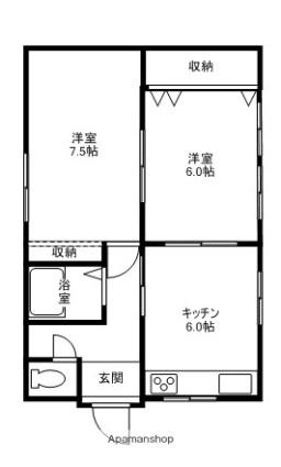 寺内後城加賀屋貸家[2DK/46.08m2]の間取図