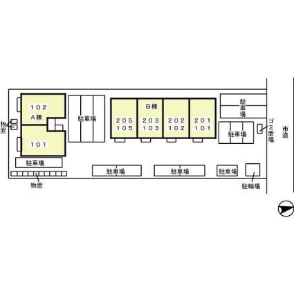 シャインパークカガヤ B[1LDK/47.52m2]の配置図