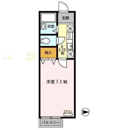 サンステージ東通[1K/22.77m2]の間取図