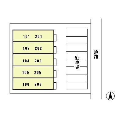 サンステージ東通[1K/22.77m2]の配置図