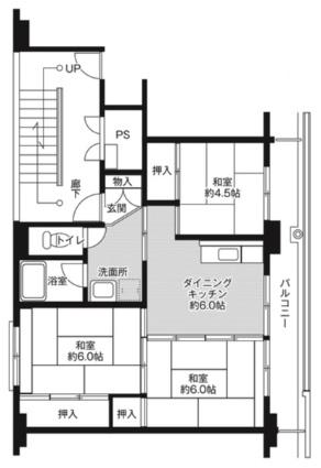 ビレッジハウス勝平2号棟[3DK/53.08m2]の間取図