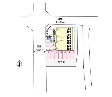 ガーネット ガーデン[1K/36.28m2]の配置図