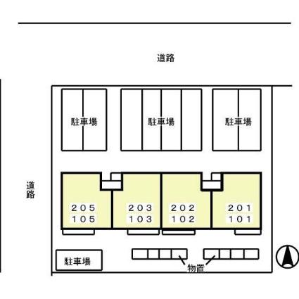 エステート将軍野[1LDK/40.98m2]の配置図